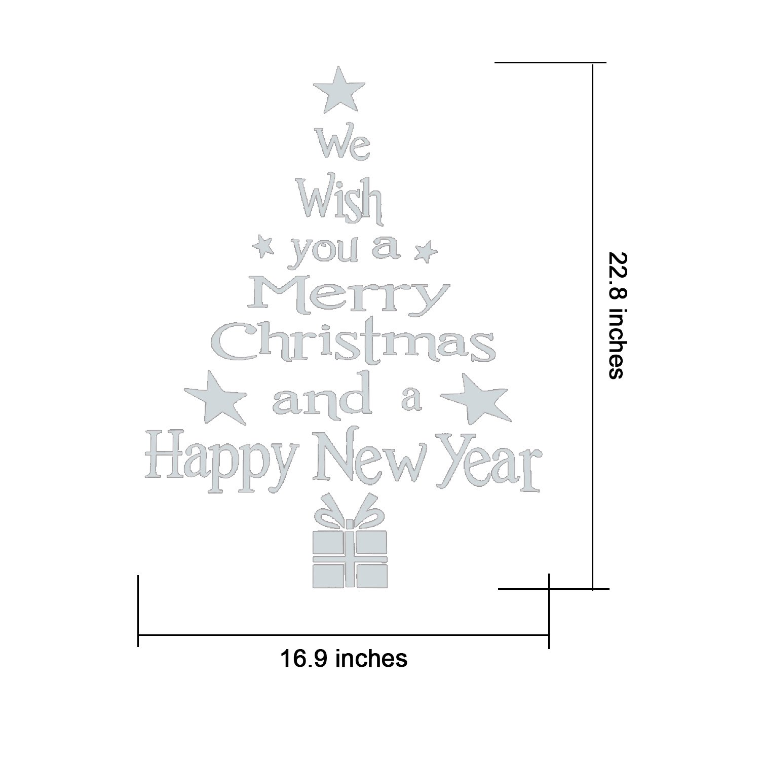 2 Pieces Christmas Wall Decals Letters And Christmas Tree Stickers
