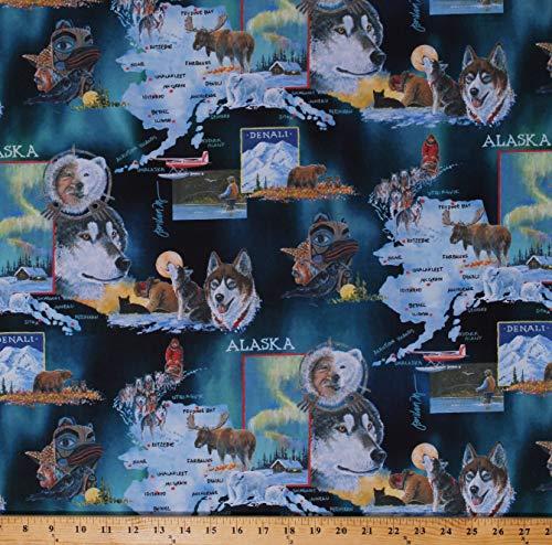 - Cotton State of Alaska Map Motifs Animals Wildlife Sled Dogs Huskies Moose Northwoods Cabins Scenes Jon Van Zyle Cotton Fabric Print by The Yard (D509.17)