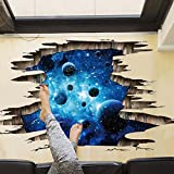 Amaonm Removable Creative 3D Magic Blue Galaxy Planet Through the Wall Decals Stickers Girls Nursery Room Walls Decorations Art Decor Home Decal Classroom Bathroom Playroom Stickers for Kids Baby Boys