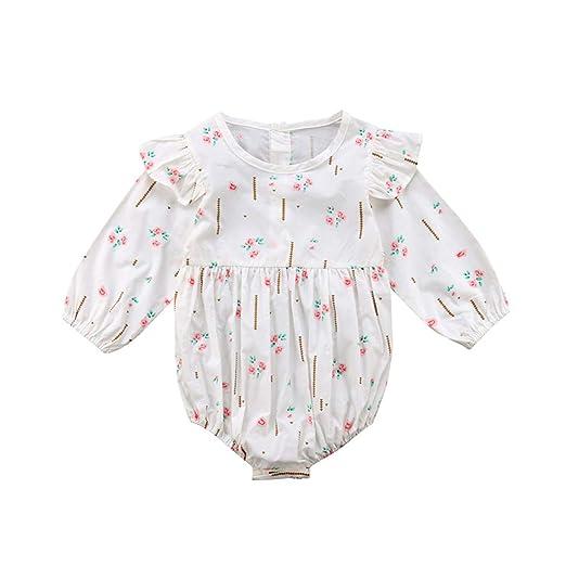 c4ecd6f3e freedomer Newborn Baby Girls Clothes Floral Print Long Sleeve Ruffle Cotton  Bodysuit Long Sleeve Kids Toddler