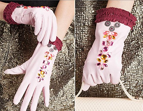 HOMEE Women'S Leather Gloves Sleeves Fleece Lined Short Inlaid Artificial Diamonds Black Blue Pink,Pink,Small by HOMEE (Image #1)