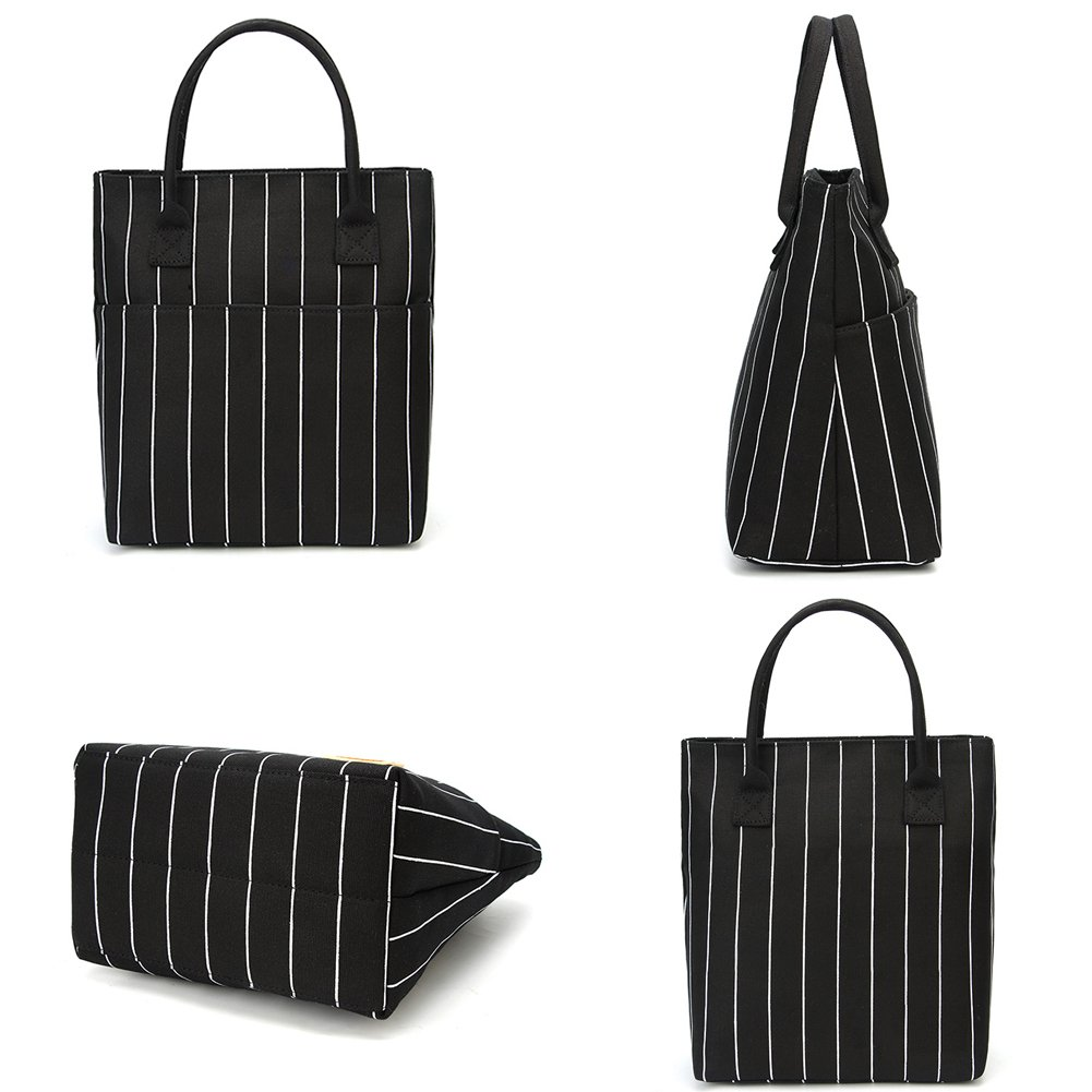 Heymoko Medium Insulated Lunch Bag Stripe Durable Canvas Lunch Tote High Capacity Lunch Box for Girls Women, Suitable for School Work Shopping (Black-Stripe) by Heymoko (Image #7)