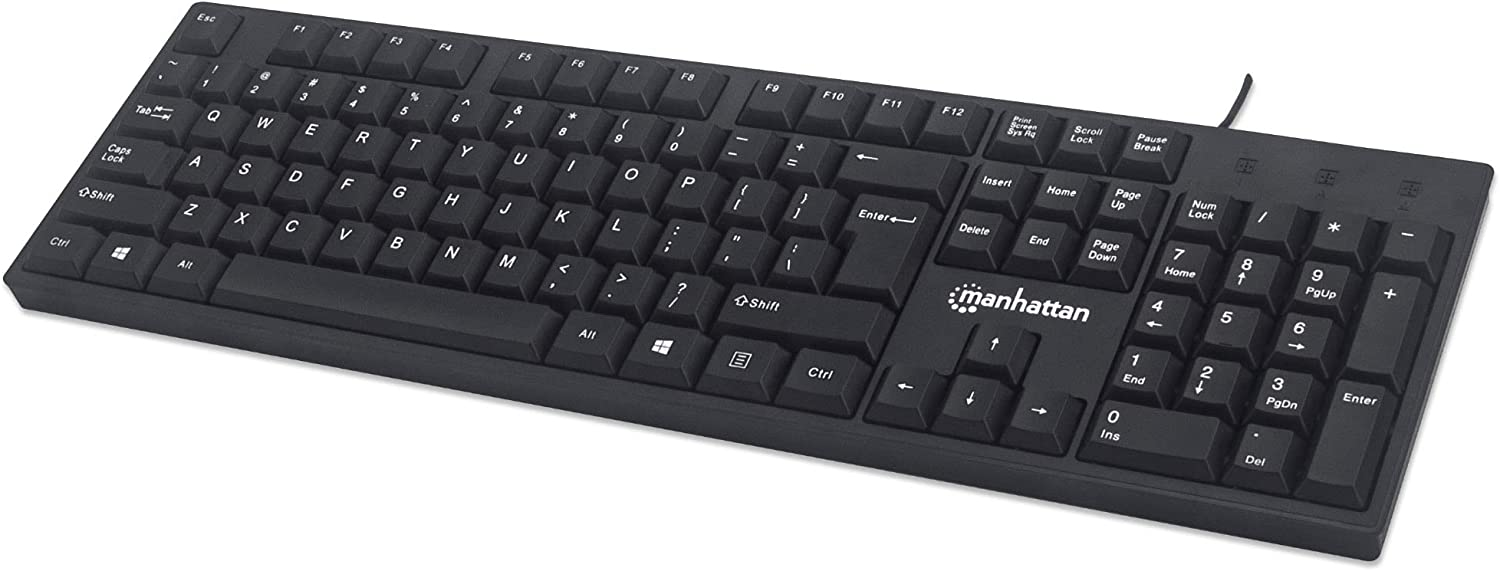 Manhattan 104-key Black Wired Keyboard with Built-in 5 ft. (1.5 m) USB-A Cable and LED Indicator Lights