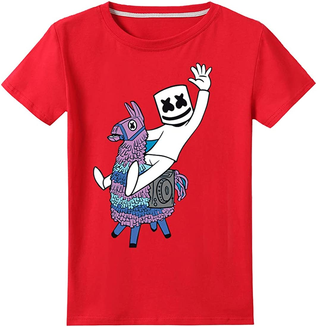 DJ Smiley Fans T-Shirt Cool Souriant Visage Musique Electronique Top Col Rond Hip Pop pour Gar/çon Fille Flip Coton Tee Shirt Tops