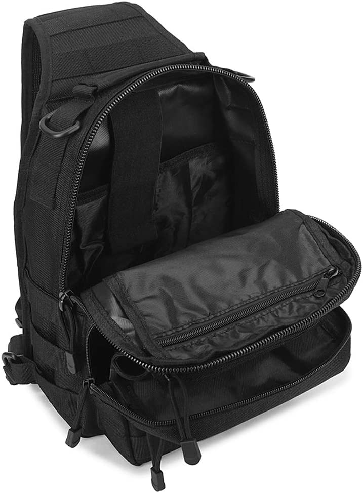 Lixada Fishing Tackle Storage Bag Utility Sling Backpack Single Shoulder Crossbody Chest Bag for Hunting Fishing Molle Shoulder Backpack