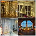 300 LED 8modes Window Curtain String Light with remote for New Year School Club Bar Pub Gift Toys DIY Birthday Christams Wedding Party Home Garden Bedroom Outdoor Indoor Wall Decorations (Warm White)