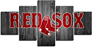 Boston Red Sox Wall Decor Art Paintings 5 Piece Canvas Picture Artwork Living Room Prints Poster Decoration Wooden Framed Ready to Hang(60''Wx32''H)