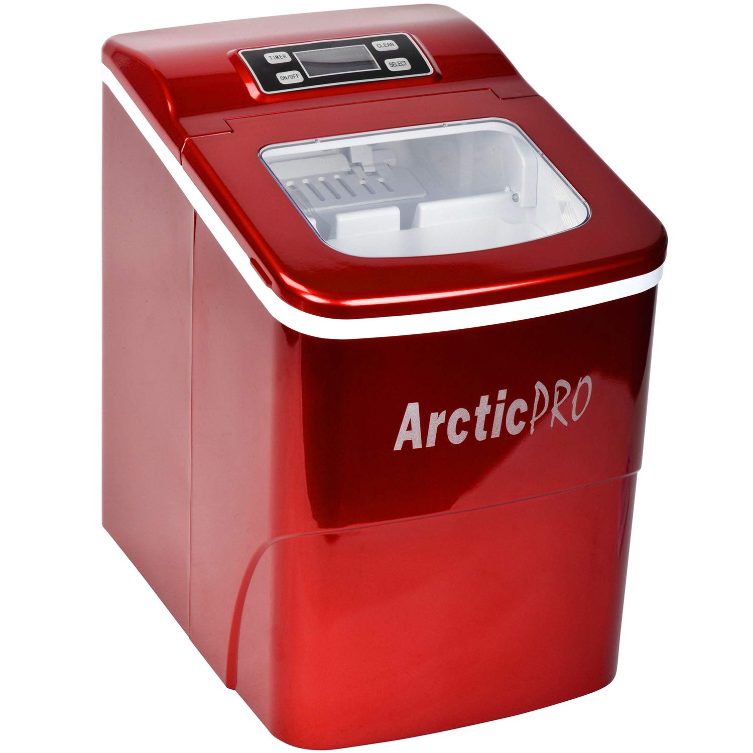 PORTABLE DIGITAL ICE MAKER MACHINE by Arctic-Pro with Ice Scoop, First Ice in 8 Minutes, 26 Pounds Daily, Great for Kitchens, Tailgating, Bars, Parties, Small/Large Cubes, Red, 11.5x8.7x12.5 Inches