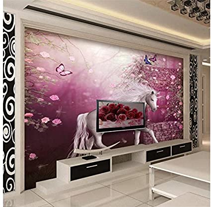 Wapel Classic Wallpaper For Walls Mural 3D Wallpaper European Style Unicorn  White Horse Prince Tv Wall