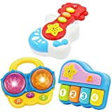 Portable Set of 3 (Piano, Bongo Drums, Guitar) Educational Toy for Music Learning and Entertainment for Ages 9 Months to…