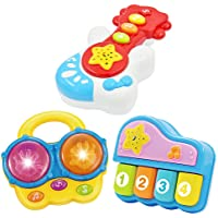 Baby Music Set of 3 Piano Guitar Bongo Drum. Music Learning Education for Ages 9 Months to 4 Years. Small Portable Size…