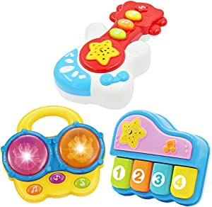 Baby Music Set of 3 Piano Guitar Bongo Drum. Music Learning Education for Ages 9 Months to 4 Years. Small Portable Size for Baby Hands.