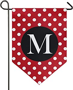 Oarencol Monogram Letter M Garden Flag Red White Polka Dot Classics Double Sided Home Yard Decor Banner Outdoor 12.5 x 18 Inch