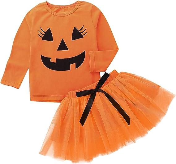 MAYOGO Conjunto de Niña Halloween Disfraz Calabaza Manga Larga ...