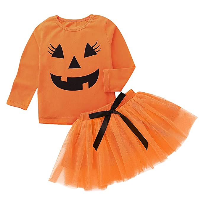 ❤ Tefamore 1-5 años Niña Disfraz Halloween Manga Larga Calabaza ...