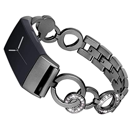 BabiQ for Fitbit Charge 3, Luxury Crystal Stainless Steel Bracelet Smart  Watch Replacement Band Strap for Fitbit Charge 3
