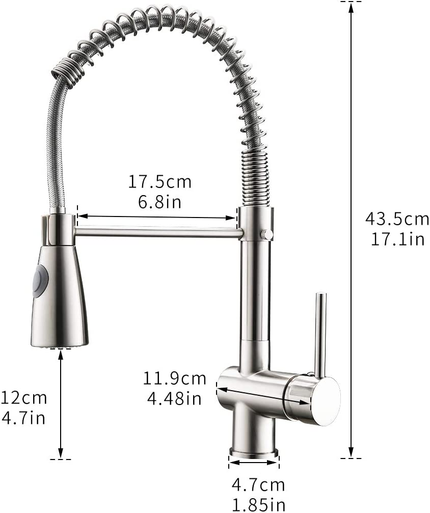 GIMILI Commercial Kitchen Faucet with Pull Down Sprayer,Single Handle Spring High Arc Pull Out Spray Stainless Steel Kitchen Sink Faucet,Brushed Nickel