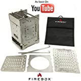 "Firebox Bushcraft Camp Stove Kit - Wood Burning / Multi Fuel - Collapsible / Folding - Portable Campfire - Model Gen 2 5 inch / G2 - 5"" Stainless Steel Camping Stove"