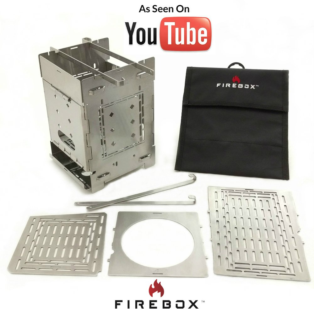 Firebox Bushcraft Camp Stove Kit - Wood Burning/Multi Fuel - Collapsible/Folding - Portable Campfire - Model Gen 2 5 inch/G2-5 Stainless Steel Camping Stove
