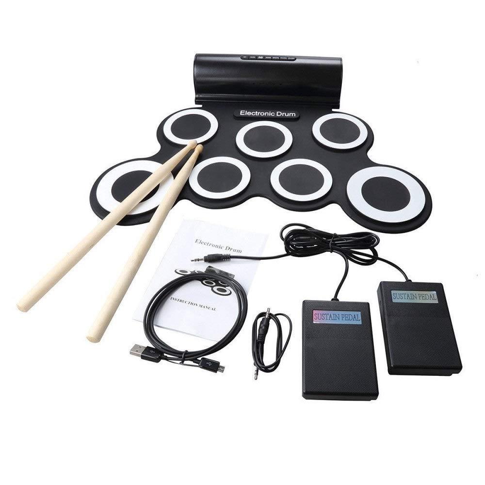 【内祝い】 ロールアップドラム size) シリコン電子ドラムキットサポートDTXゲームロールアップ練習MIDIドラムセット(7パッド付き)ヘッドフォンジャック内蔵スピーカーサスティンペダルドラムスティック録音再生機能ギフト子供のための (色 : ブラック, サイズ : Free : size) サイズ Free size ブラック B07QBYB6SS, 京都祝着洛寿:93e19eb8 --- a0267596.xsph.ru