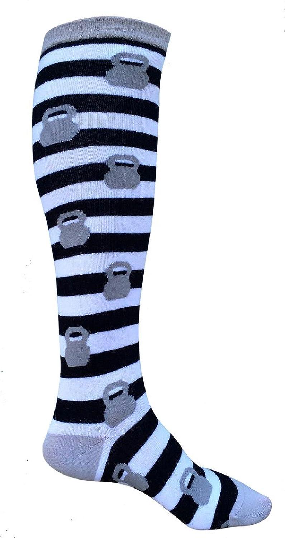 SoRock Women's Grey Kettlebell Stripped Knee Socks