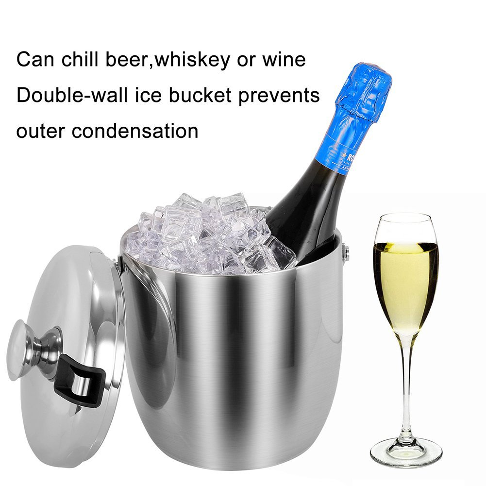 Insulated Ice Bucket,Stainless Steel Double Wall Ice Bucket with Lid and Tongs,2.8-Litre,Silver by Fortune Candy (Image #3)