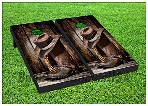 Vinyl Wraps Country Western Cornhole Board Game Decals Cowbo