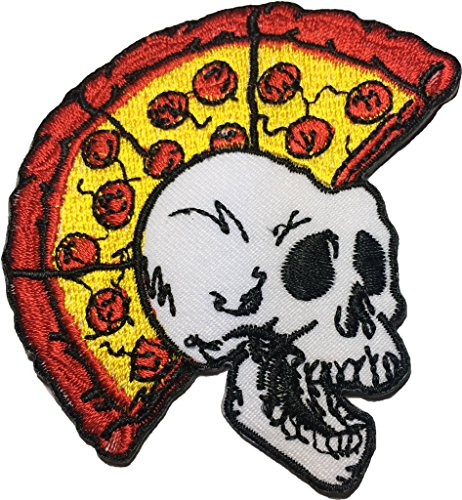 Pizza Skull(punk) size 7x8 cm. biker heavy metal Horror Goth Punk Emo Rock DIY Logo Jacket Vest shirt hat blanket backpack T shirt Patches Embroidered Appliques Symbol Badge Cloth Sign Costume Gift - Dead Presidents Movie Halloween Costume
