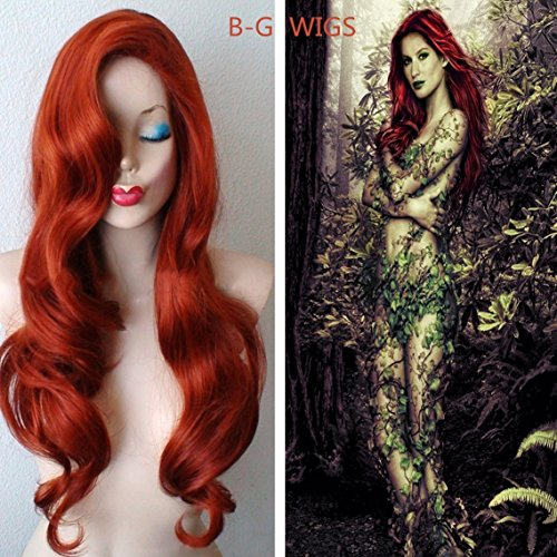 [BG  24 Inch Long Curly Wavy Heat Resistant Wigs for Women with Wig Cap] (Jessica Rabbit Wig)