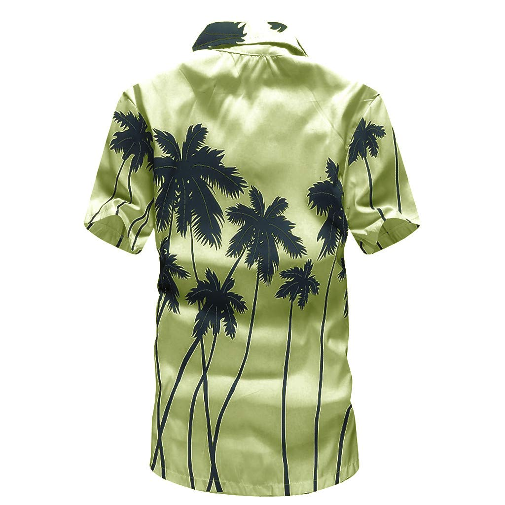 SSYUNO Mens Fashion Hawaiian Printed Shirt Short Sleeve Floral Beach Shirt