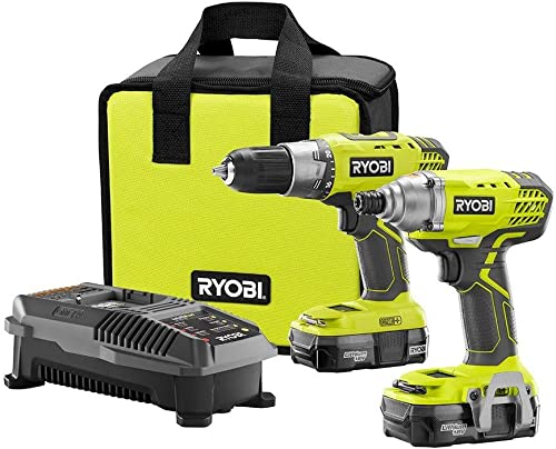 Ryobi P1832 18V One Handheld Drill Driver and Impact Driver Kit 6 Piece Bundle, 1x P277 Drill Driver, 1x P235 Impact Driver, 1x P118 Dual Chemistry Charger, 2x P102 18V Batteries, 1x Tool Bag