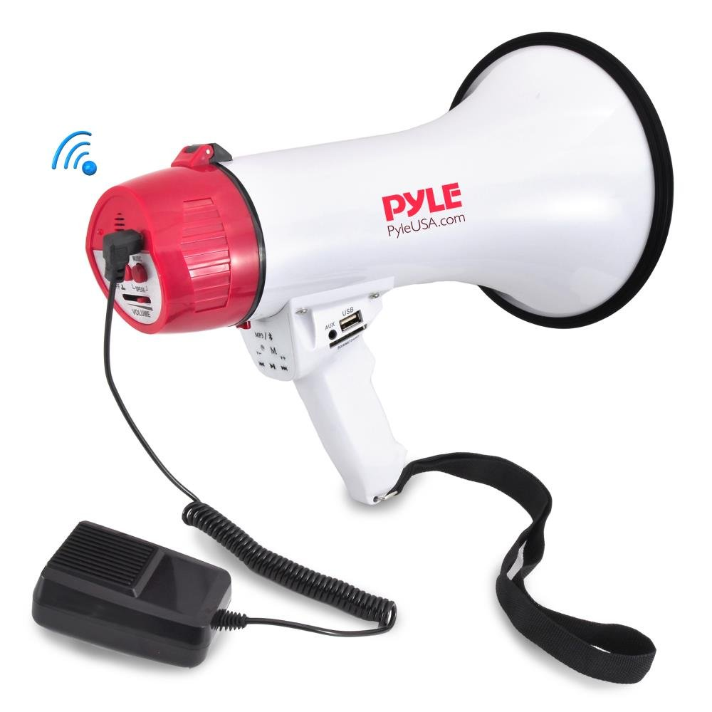 Pyle Bluetooth Bullhorn PA Megaphone iPhone Megaphone Speaker with Wired Microphone, Siren Alarm Mode, MP3/USB/SD Readers