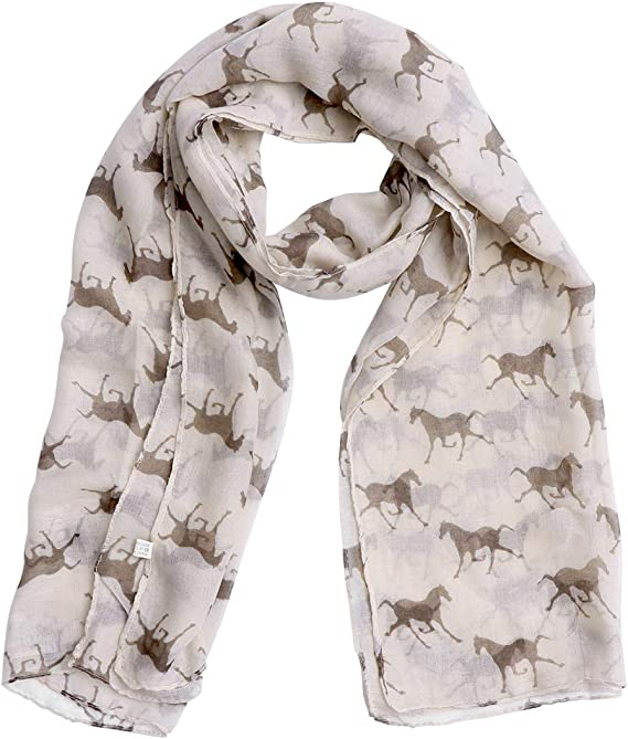 Long Scarf Cows Print Scarf Farm Animals Shawl Wrap Voile Oversized