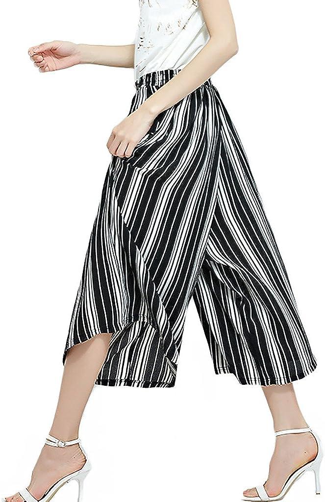 ZANLICE Womens Loose Elastic Stripe Printed Calf Length Wide Leg Pants