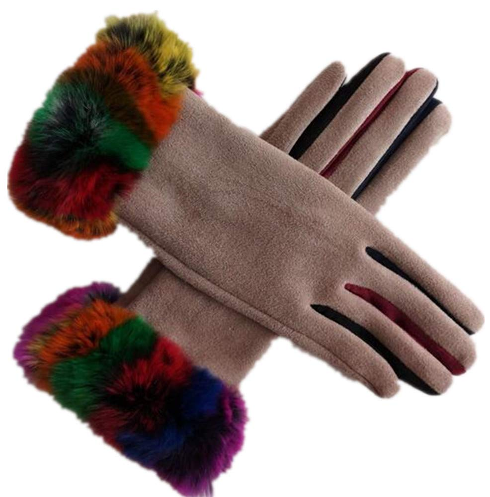Zhang chen fu Suede Mens Winter Warm Plus Velvet Thick Touch Screen Finger Gloves