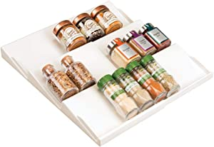 mDesign Adjustable, Expandable Plastic Spice Rack, Drawer Organizer for Kitchen Cabinet Drawers - 3 Slanted Tiers for Garlic, Salt, Pepper Spice Jars, Seasonings, Vitamins, Supplements - Cream/Beige