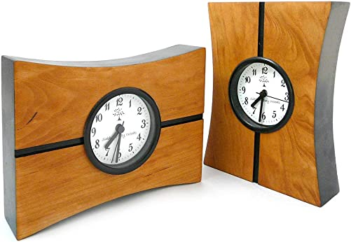 Modern Artisans Turning Time Mantel or Desk Clock, American Made Natural Cherry Wood, 8 x 6
