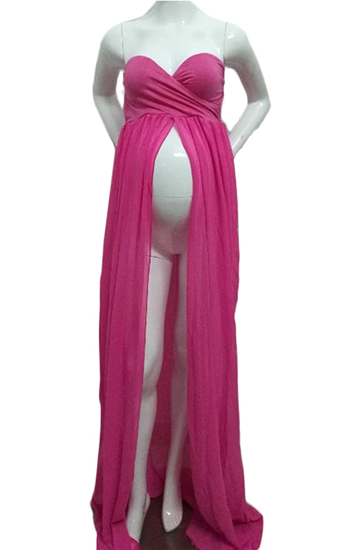 30%OFF Hopeverl Maternidad Split Front Sheer vestido de maternidad ...