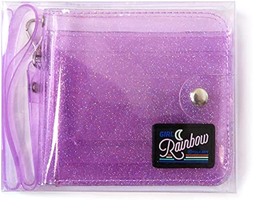 Transparent ID Card PVC Folding Short Wallet Card Case Purse with Lanyard Women