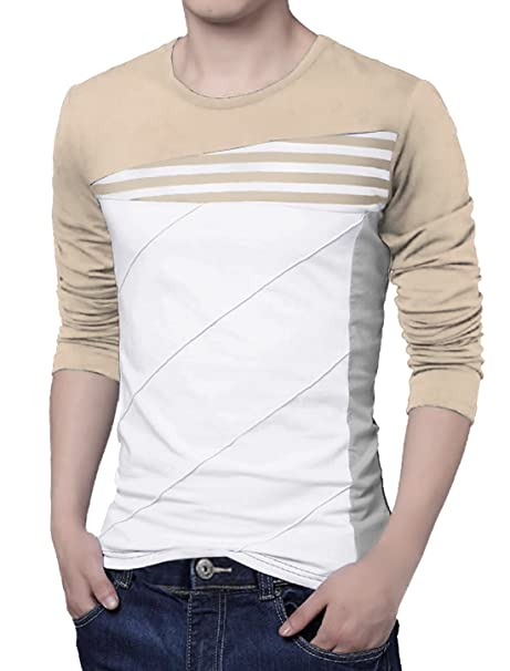 77d57d884 uxcell Men Color Block Striped Panel Round Neck Long Sleeve Pullover ...