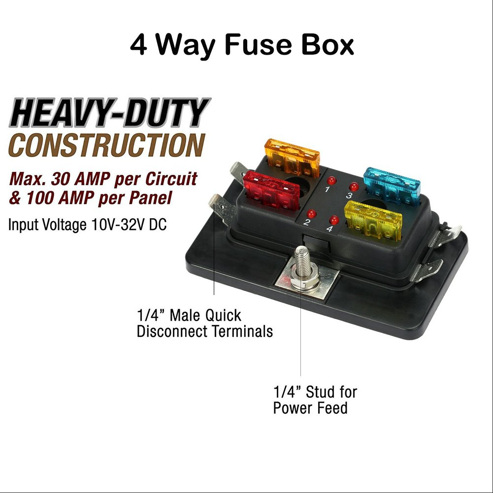 Amazon.com: Qiilu Fuse Block Blade Fuse Box Holder DC 12V 4 Circuit Breaker  ATC ATO with Fuse and Connectors for Car Bus Truck Auto Motor Boat Marine  Trike: ...