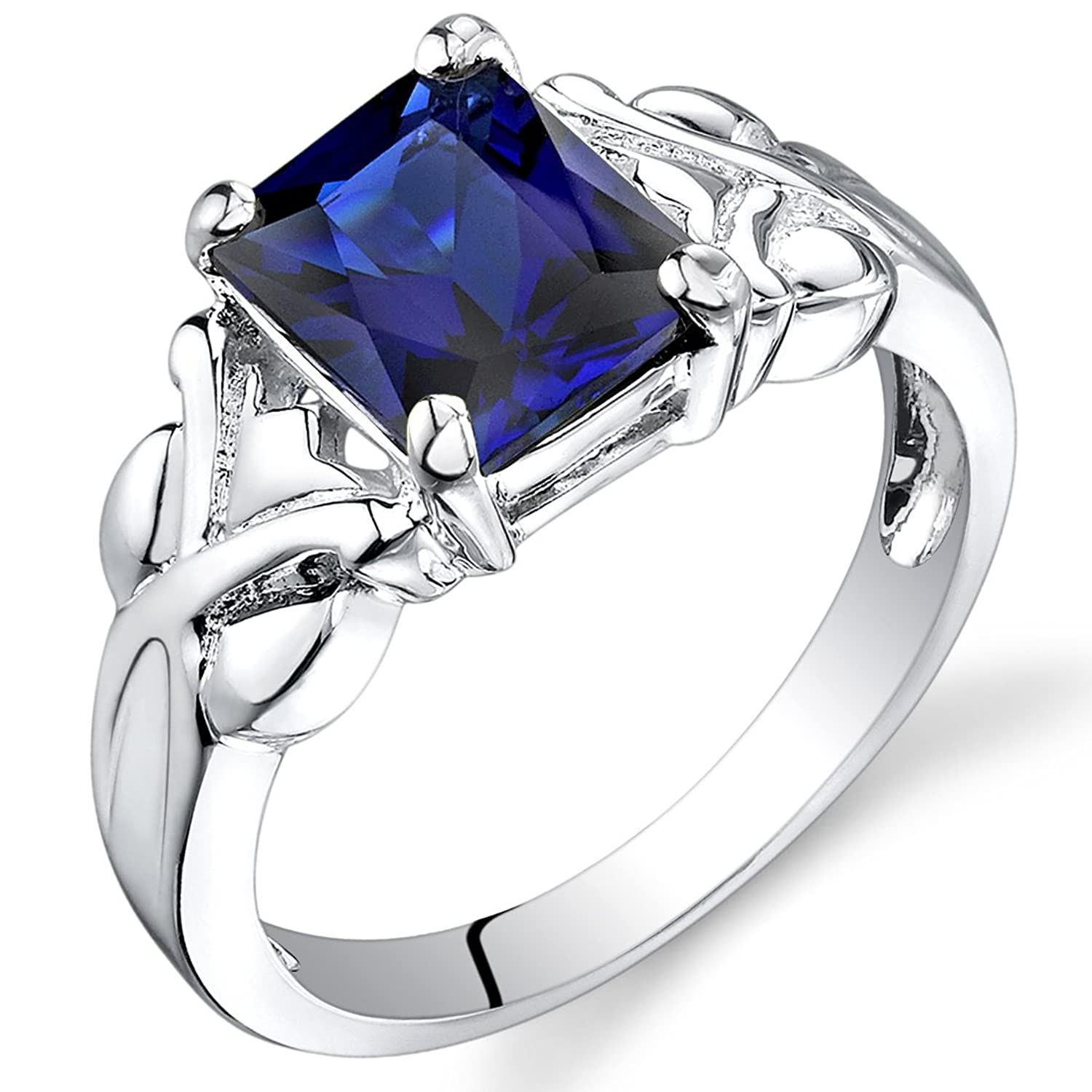 Created Sapphire Ring Radiant Cut Sterling Silver 3.00 Carats Sizes 5 to 9