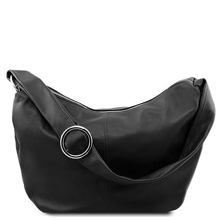 04ff15d33320 Tuscany Leather Yvette Soft leather hobo bag Black  Amazon.co.uk  Luggage