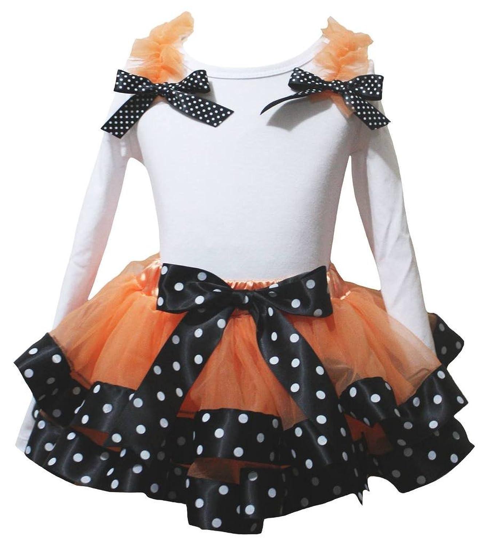 Petitebelle Halloween Blanc uni L/S Maillot à pois Noir Orange Pétale Jupe Nb-8y