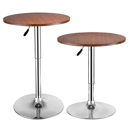 Costway Modern Round Bar Table Adjustable Bistro Pub Counter Wood Top  Swivel Indoor (2)
