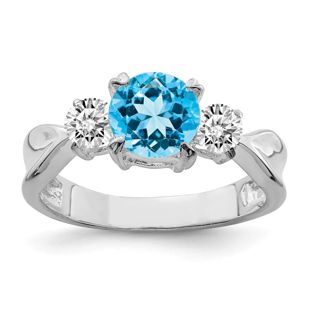 3mm Solid 925 Sterling Silver December Simulated Birthstone Blue Simulated Topaz Fashion or Engagement Ring