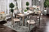Cheap Furniture of America Taylah Weathered Gray 7 Piece Dining Set