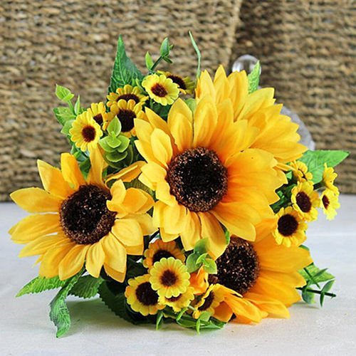Artificial Flowers - Sunflower 7 Heads Bouquet - Silk Flowers Artificial Rose Flowers Home decorations for Bridal Wedding Bouquet, Birthday Flowers Bunch Hotel Party Garden Floral Arrangements Decor