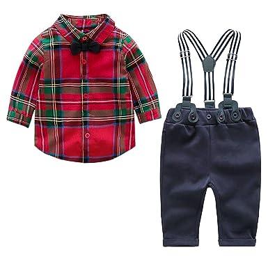 Ropa Niño Traje Navidad Conjuntos Boda Camisetas a Cuadros Rojo y ...