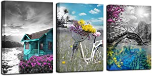 """Canvas Wall Art Cabin Teal Purple Painting Bathroom Decor Landscape Lake Painting Flowers are on the Bicycle Pictures, Old Bridge Poster Artwork 12""""x16""""x3 Panels for Bedroom Spa Salon Kitchen Home Office Decor"""